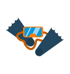 scuba mask and snorkel diving flippers isolated vector image