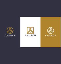 set church christian logo design vector image