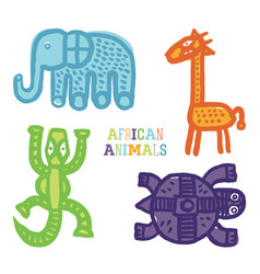 Set cute cartoon african animals paintbrush vector