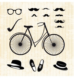 set hipster with bicycle vector image