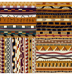 Set of African seamless patterns vector image