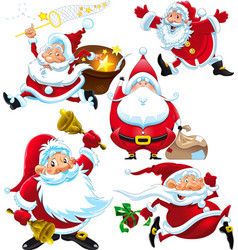 Set of funny Santa Claus vector