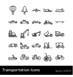 Set of transportation icons isolated vector