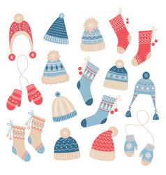 set winter cute wool accessories for warm walks vector image