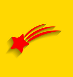 Shooting star sign red icon with soft vector