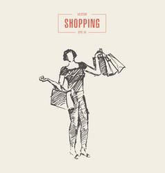 shopping girl walking bags drawn sketch vector image