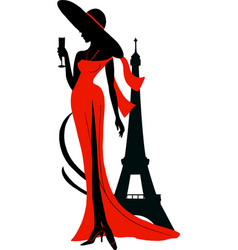 silhouette woman in long dress and big hat with vector image