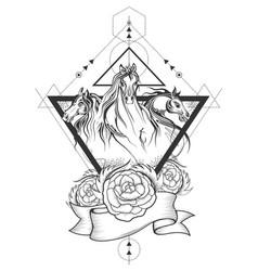 Tattoo Art Design Of Horse Racing In Line Vector Image