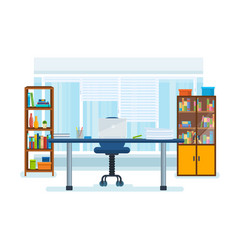 The interior of the office room with a workplace vector