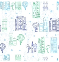 Town houses trees streets blue green vector