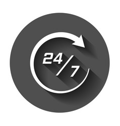 Twenty four hour clock icon in flat style 247 vector