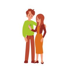 Unhappy infertile couple with a pregnancy test vector
