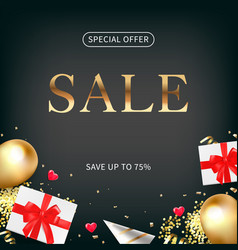 valentine day flyer design with sale flat lay vector image
