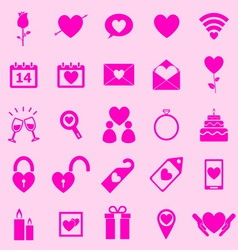 Valentines day pink icons on light background vector image