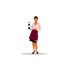 Waitress with tray vector image