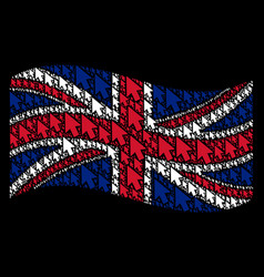 Waving uk flag pattern of mouse cursor items vector