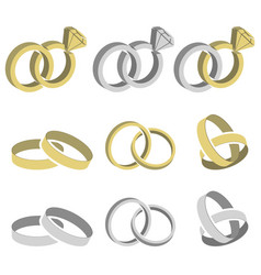 wedding rings set vector image