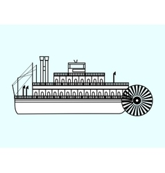 White ship with a water wheel vector image