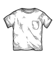 White t-shirt sketch engraving vector