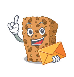 With envelope granola bar character cartoon vector