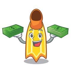 With money bag swim fin mascot cartoon vector