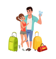 young couple with travel bags and tickets man and vector image