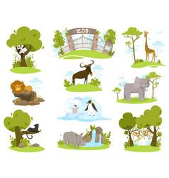 zoo animals cartoon characters set isolated vector image