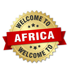 africa 3d gold badge with red ribbon vector image vector image