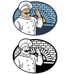 chef in smiling happy face vector image vector image