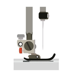 close up sewing machine head and needle side view vector image