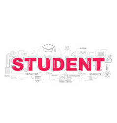 design concept of word student website banner vector image
