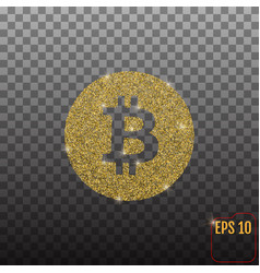 golden bitcoin isolated on transparent background vector image