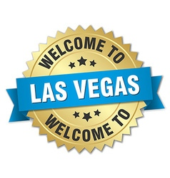 Las Vegas 3d gold badge with blue ribbon vector image