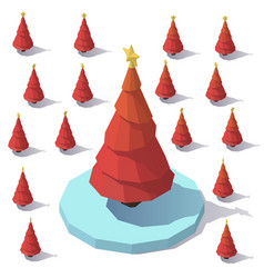 lowpoly christmas red tree vector image vector image