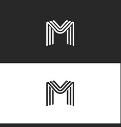 monogram letter m logo black and white smooth vector image vector image
