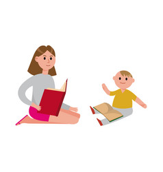mother reading a book to her cute son cartoon vector image vector image