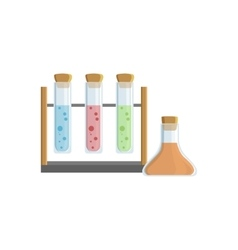 Set of three test tubes for chemical experiments vector