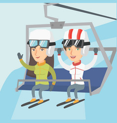 two caucasian skiers using cableway at ski resort vector image vector image