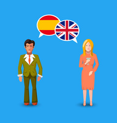 two people with white speech bubbles with great vector image