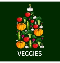 Vegetables shape of a cutting board vector image vector image
