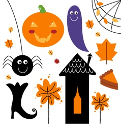 Beautiful colorful Halloween elements vector image vector image