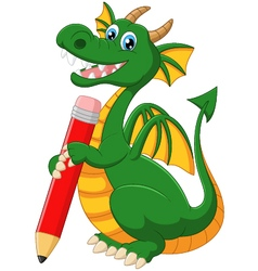 Cartoon dragon holding red pencil vector image vector image
