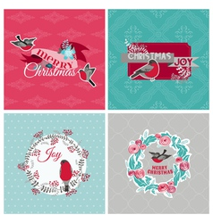 Christmas Cards with Birds and Wreath vector image