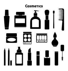 Cosmetic silhouettes set vector image
