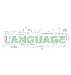 design concept of word language website banner vector image vector image