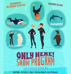 Dolphinarium show program poster vector