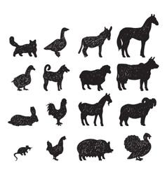 Farm animals black silhouettes vector image