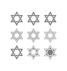 Icons with star of david traditional jewish symbo vector