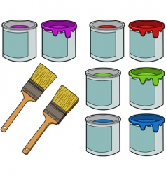 paint brushes and cans vector image