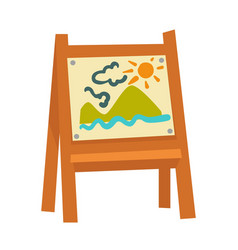 wooden easel with attached childish drawing vector image vector image
